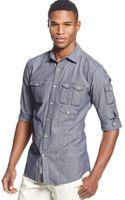 Sean John Long Sleeve Chambray Utility Shirt - Lyst