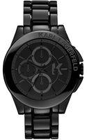 Karl Lagerfeld Unisex Chronograph Black Ionplated Stainless Steel Bracelet Watch 44mm - Lyst