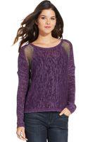 DKNY Long-sleeve Metallic-knit Colorblocked Sweater - Lyst