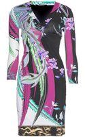 Roberto Cavalli Printed Satinjersey Dress - Lyst