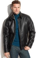 Calvin Klein Faux Leather Faux-shearling-lined Moto Jacket - Lyst
