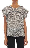 Iro Ruffle Sleeve Abstract Print Silk Blouse - Lyst