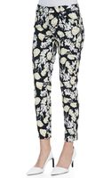 7 For All Mankind Cropped Skinny Jeans with Floral Print - Lyst