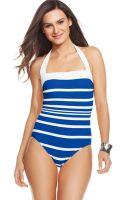 Lauren by Ralph Lauren Striped Halter One Piece Swimsuit - Lyst