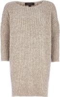 River Island Beige Boucle Knit Dress - Lyst