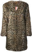 MSGM Leopard Print Fur Coat - Lyst