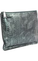 Rochas Metallic and Embossed Python Clutch - Lyst