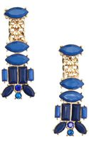 Kenneth Jay Lane Lapis and Gold Drop Earring - Lyst