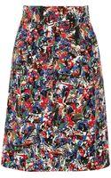 M Missoni Pleated Printedcotton Skirt - Lyst