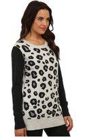 Michael Stars Leopard Intarsia Ls Crew Neck Sweater - Lyst