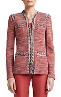 St. John Heathered Shantung Tweed Knit Mandarin Collar Jacket with Pockets - Lyst