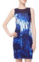 Catherine Catherine Malandrino Shauna Illusion Ruched Print Dress - Lyst