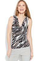 Calvin Klein Sleeveless Zebraprint Cowlneck Top - Lyst