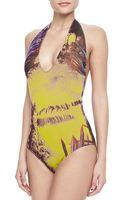 Jean Paul Gaultier Palm Leafprint Halter Onepiece Swimsuit Viola - Lyst