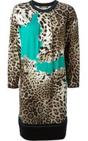 Roberto Cavalli Leopard Print Knit Dress - Lyst