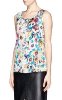 St. John Pleat Neck Floral Print Blouse - Lyst