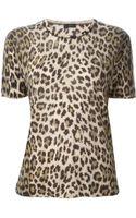 Joseph Leopard Print Short Sleeve Sweater - Lyst