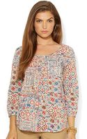 Lauren by Ralph Lauren Patchwork Floral Cotton Shirt - Lyst