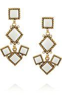 Oscar de la Renta Gold Plated Resin and Crystal Earrings - Lyst