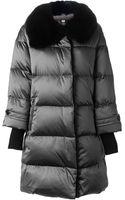 Burberry London Rabbit Fur Collar Padded Coat - Lyst
