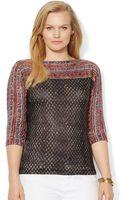 Lauren by Ralph Lauren Plus Size Semisheer Geoprint Sweater - Lyst