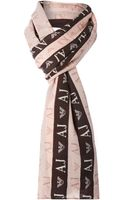 Armani Jeans Printed Logo Wool Long Scarf - Lyst
