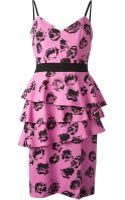 Emanuel Ungaro Rose Print Peplum Dress - Lyst