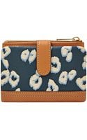 Fossil Erin Printed Leather Tab Multifunction Wallet - Lyst
