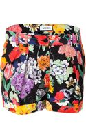 Moschino Silk Floral Print Shorts - Lyst