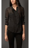 Burberry Pleat and Bow Silk Tunic Shirt - Lyst