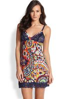 Josie Hollywood Boho Lacepaneled Printed Chemise - Lyst