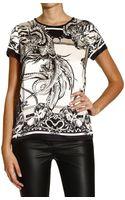 Roberto Cavalli Top Short Sleeve Silk Print Golden Eagle - Lyst