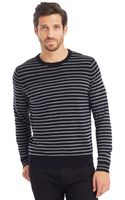 Kenneth Cole Long Sleeve Striped Crewneck - Lyst