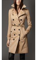 Burberry Metallic Leather Detail Gabardine Trench Coat - Lyst