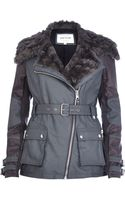 River Island Grey Faux Fur Collar Biker Jacket - Lyst