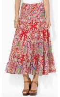 Lauren by Ralph Lauren Paisley Cotton Tiered Skirt - Lyst