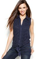 Inc International Concepts Petite Sleeveless Lace Tie-front Blouse - Lyst
