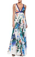 Roberto Cavalli Alize-print Beaded Open-back Gown - Lyst