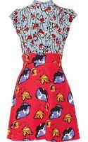 Miu Miu Printed Silk and Cady Mini Dress - Lyst