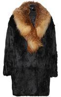 Inès & Maréchal Viking Rabbit Fur Coat with Fox Fur Collar - Lyst