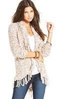 American Rag Marled-knit Fringed Cardigan - Lyst