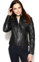 Michael Kors Michael Seamed Zipfront Leather Bomber Jacket - Lyst