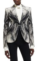 Alexander McQueen Crepe Fox Fur-print One-button Jacket - Lyst