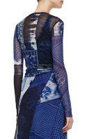 Jean Paul Gaultier Short Printed Wrap Cardigan Blue - Lyst