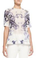 Lela Rose Short Sleeve Scroll Print Peplum Blouse - Lyst