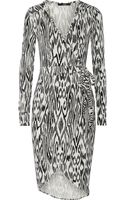 T+art Seraphina Printed Stretchjersey Wrap Dress - Lyst