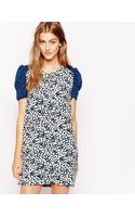 Dress Gallery Ditsy Print Shift Dress with Contrast Sleeves - Lyst