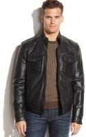 Kenneth Cole Distressed Leather Moto Jacket - Lyst