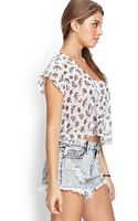 Forever 21 Floral Chiffon Cutout Top - Lyst