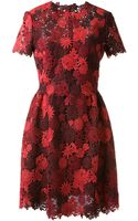 Valentino Red and Burgundy Dress with Flower Embroideries - Lyst
